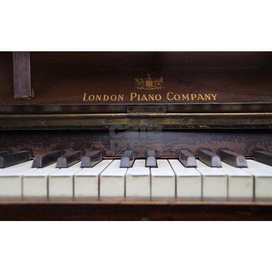 Piano keys on Old antique vintage music instrument